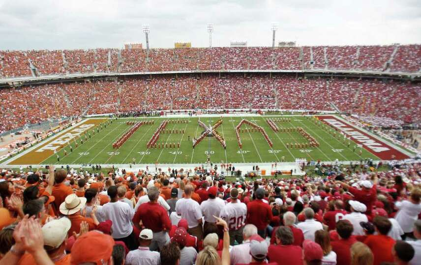 Fans pack the Cotton Bowl before the NCAA college football game between Oklahoma and Texas in Dallas