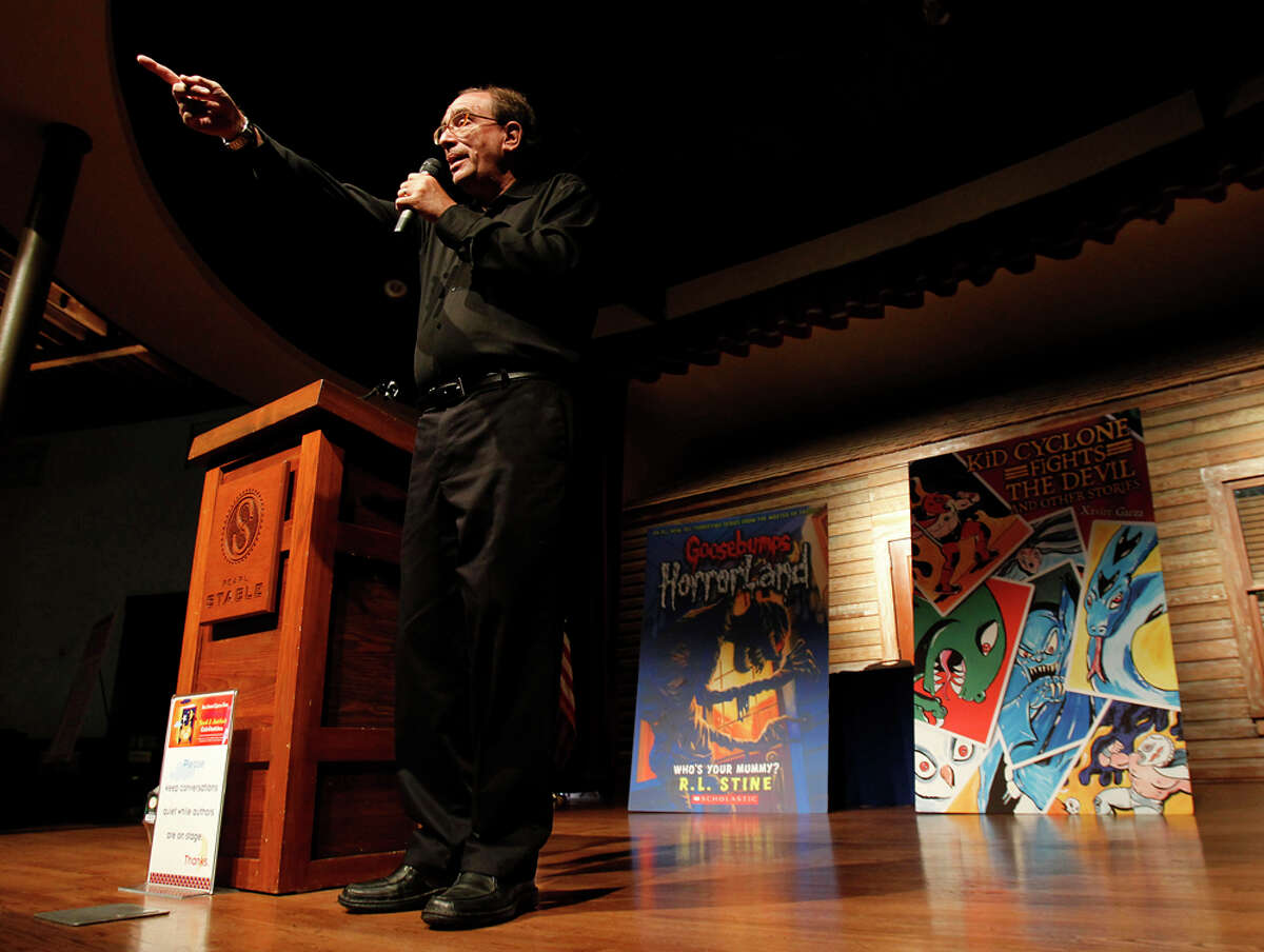 Author R.L. Stine asks for audience participation during the Express-News Children's Book & Author Celebration at Pearl Stable, benefiting the S.A. Public Library Foundation's Born to Read program on Oct. 8, 2011.