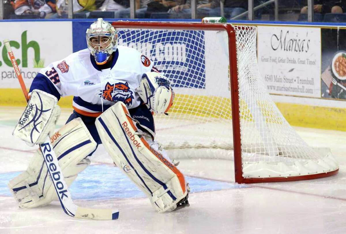 Bridgeport Sound Tigers' goalie Kevin Poulin during the AHL season opener against the Portland Pirates at the Webster Bank Arena in Bridgeport on Saturday, Oct. 8, 2011.