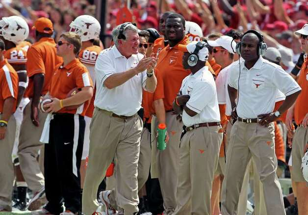 Mack Brown tries to keep the Horns in the game in the second half as the Texas Longhorns play the Oklahoma Sooners at the Cottom Bowl in the Red River Rivalry   October 8, 2011.  Tom Reel/Staff Photo: TOM REEL, SAN ANTONIO EXPRESS-NEWS / © 2011 San Antonio Express-News