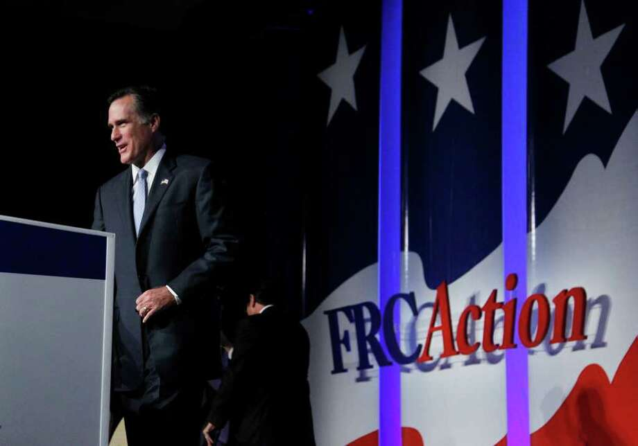Republican presidential candidate former Governor Mitt Romney, arrives to deliver his remarks at  the Values Voter Summit in Washington, Saturday, Oct. 8, 2011.  (AP Photo/Manuel Balce Ceneta) Photo: Manuel Balce Ceneta