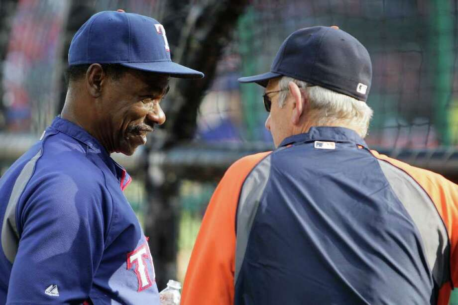 ARLINGTON, TX - OCTOBER 08:  Manager Jim Leyland #10 of the Detroit Tigers speaks with manager Ron Washington #38 of the Texas Rangers prior to Game One of the American League Championship Series at Rangers Ballpark in Arlington on October 8, 2011 in Arlington, Texas. Photo: Bob Levey, Getty / 2011 Getty Images