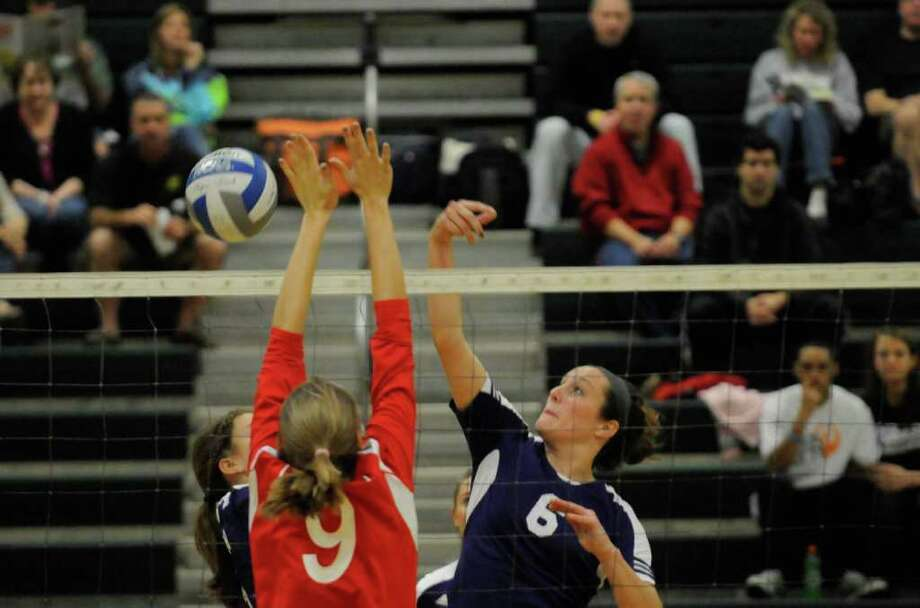 Ballston Spa's Rebecca Stodgell , #6, puts a ball over during their match against Guilderland during the Shenedehowa Columbus Day Conquest Tournament for girl's high school volley ball in Clifton Park, NY Saturday Oct. 8, 2011. The event continues Sunday.( Michael P. Farrell/Times Union) Photo: Michael P. Farrell