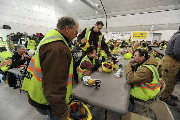 Inside The Foundry, at Globalfoundries in Malta, NY, during lunch time on February 15, 2011.  Angelo Mazzone Catering is celebrating the one-year anniversary of The Foundry, the on-site dining dome at Globalfoundries. It feeds 1,000 meals a day. (Lori Van Buren / Times Union) Photo: Lori Van Buren / 10012060A
