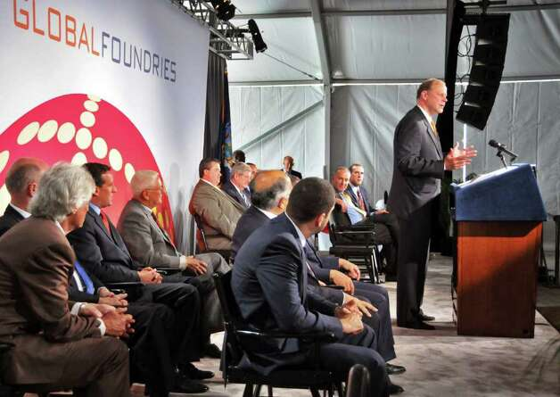 Doug Grose, CEO of GlobalFoundries, speaks during ground breaking ceremonies for GobalFoundries' $4.2 billion computer chip factory in Malta Friday July 24, 2009.    (John Carl D'Annibale / Times Union) Photo: John Carl D'Annibale / 00004795A