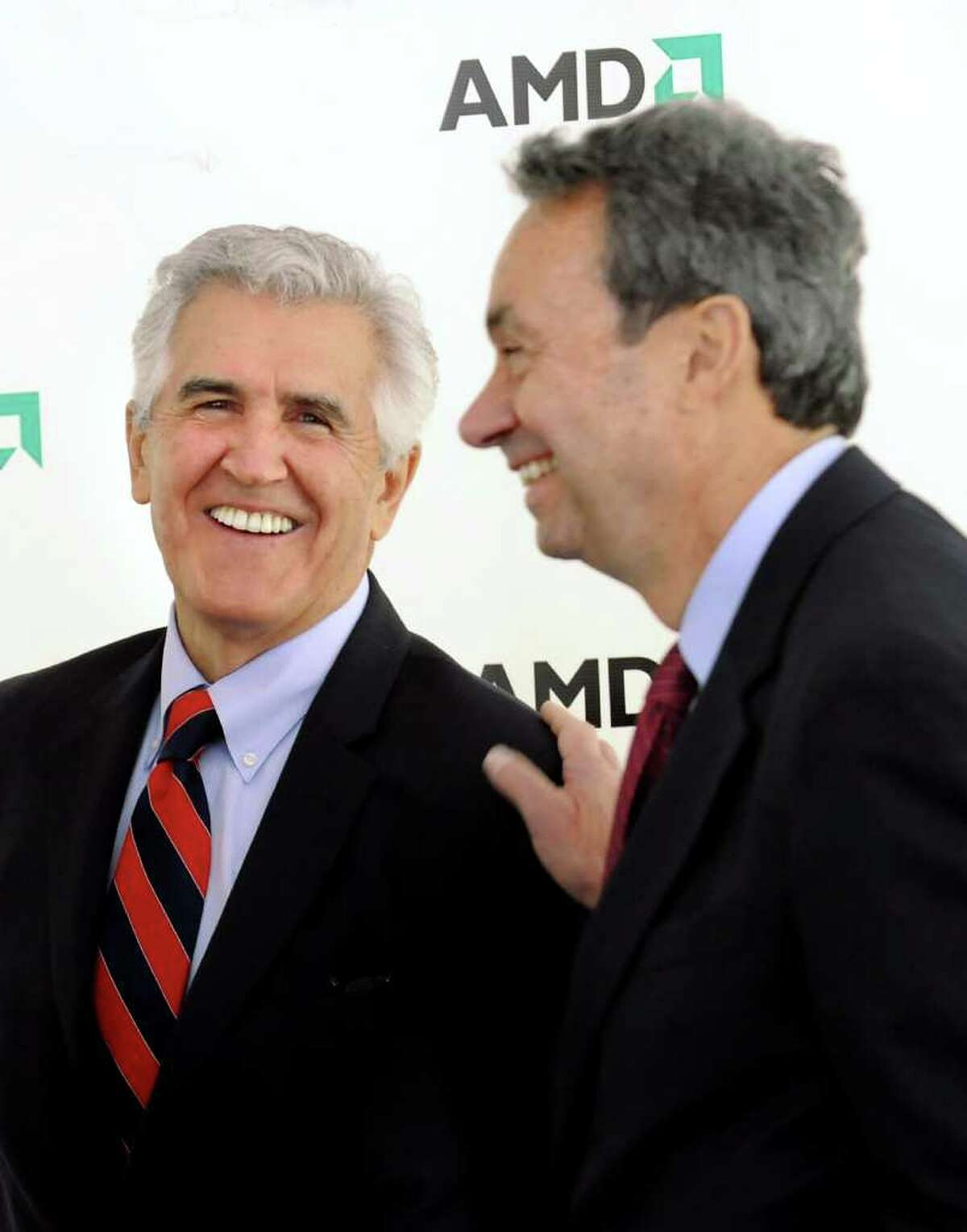 CINDY SCHULTZ/TIMES UNION -- Former Sen. Joseph Bruno, left, and Assembly Majority Leader Ron Cannestrari, right, share a light moment during the announcement of AMD plans on Wednesday, Oct. 8, 2008, at the Luther Forest Technology Campus in Malta, N.Y. (WITH RULISON STORY)