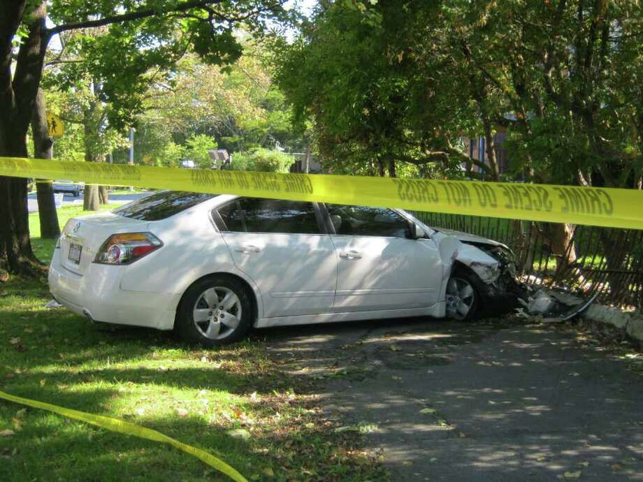 A car crashed into an iron fence on Union Street near the intersection of Nott Terrace in Schenectady around 12:15 p.m. Oct. 9, 2011 and it was found the driver had gunshot wounds from an altercation on Close Street a short time before.