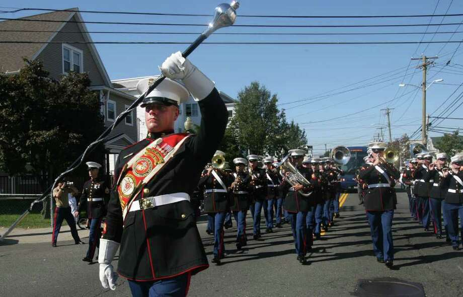 The 2d Marine Division Marching Band performs at the 103rd Columbus Day Parade in Bridgeport on Sunday, October 9, 2011. Photo: B.K. Angeletti / Connecticut Post