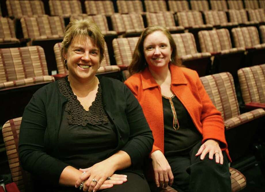 """Cindy Wolfe Boynton, left of Milford, worked with fellow Housatonic Community College adjunct professor Jan Mason, right of Kingstown, NY, to refine her play writing skills for her first play, """"The Right Time to Say I Love You"""". Photo: Brian A. Pounds / Connecticut Post"""