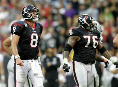 Houston Texans quarterback Matt Schaub (8) looks up at the sky after a missed pass attempt in the fourth quarter of an NFL football game at Reliant Stadium, Sunday, Oct. 9, 2011, in Houston. Raiders won the game 25-20. Photo: Karen Warren, Houston Chronicle / © 2011 Houston Chronicle