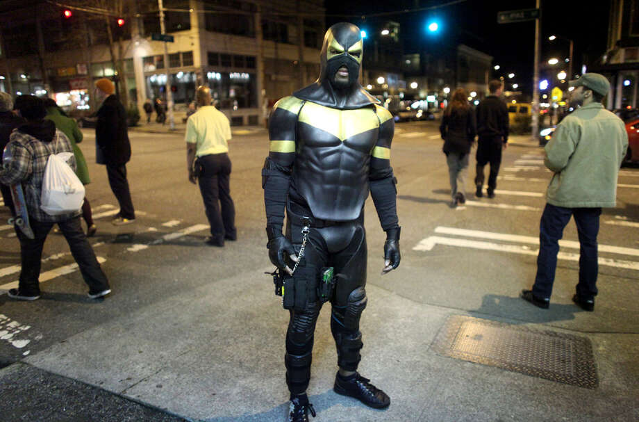 Seattle's self-proclaimed superhero Phoenix Jones photographed on Friday, Feb. 18, 2011,  during a patrol of Seattle's Capitol Hill neighborhood. (Joshua Trujillo/seattlepi.com file)