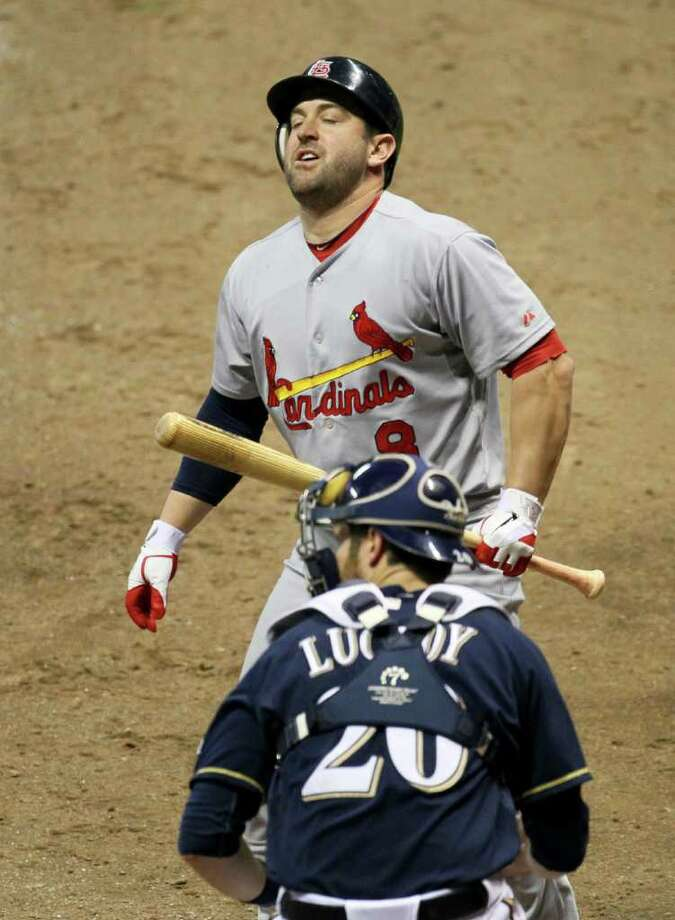Cardinals pinch hitter Nick Punto reacts after striking out in the ninth inning. The Milwaukee Brewers defeated the St. Louis Cardinals, 9-6, during Game 1 of the National League Championship Series at Miller Park in Milwaukee, Wisconsin, Sunday, October 9, 2011. (David Carson/St. Louis Post-Dispatch/MCT) Photo: David Carson, McClatchy-Tribune News Service / St. Louis Post-Dispatch