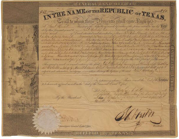 This 1844 land grant signed by Sam Houston, president of the Republic of Texas, was given to John Holliday, a survivor of the Goliad Massacre, for his service in the Texas Revolution. Photo: Courtesy Photo