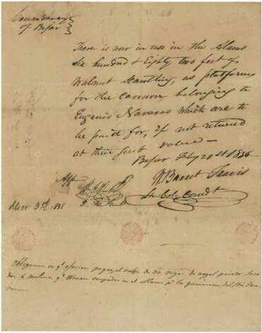 This Feb. 21, 1836 note signed by Lt. Col. William Barret Travis, Alamo commander, pledges payment of $85.25 for black walnut beams used to build cannon platforms in preparation for the arrival of the Mexican army. Photo: Courtesy From RR Auction, Courtesy Photo