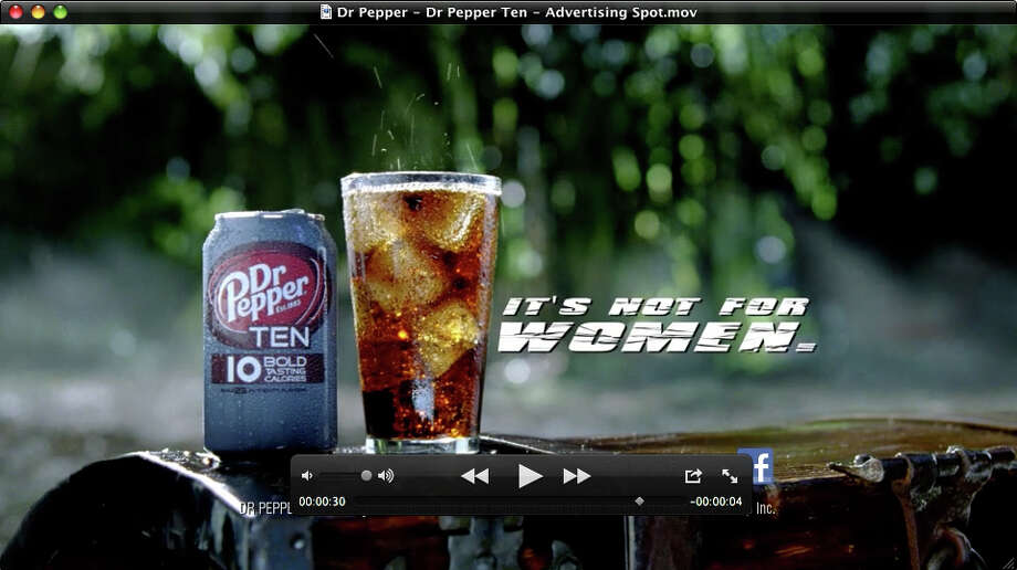 This video frame grab provided by the Dublin Dr Pepper Bottling Co., shows the new Dr Pepper TEN beverage. It's not often that a major brand tries to block out an entire segment of the population, but that's exactly what Dr Pepper is doing with the launch of its latest product, Dr Pepper TEN. (AP Photo/Dublin Dr Pepper Bottling Co.) / Dublin Dr Pepper Bottling Co.