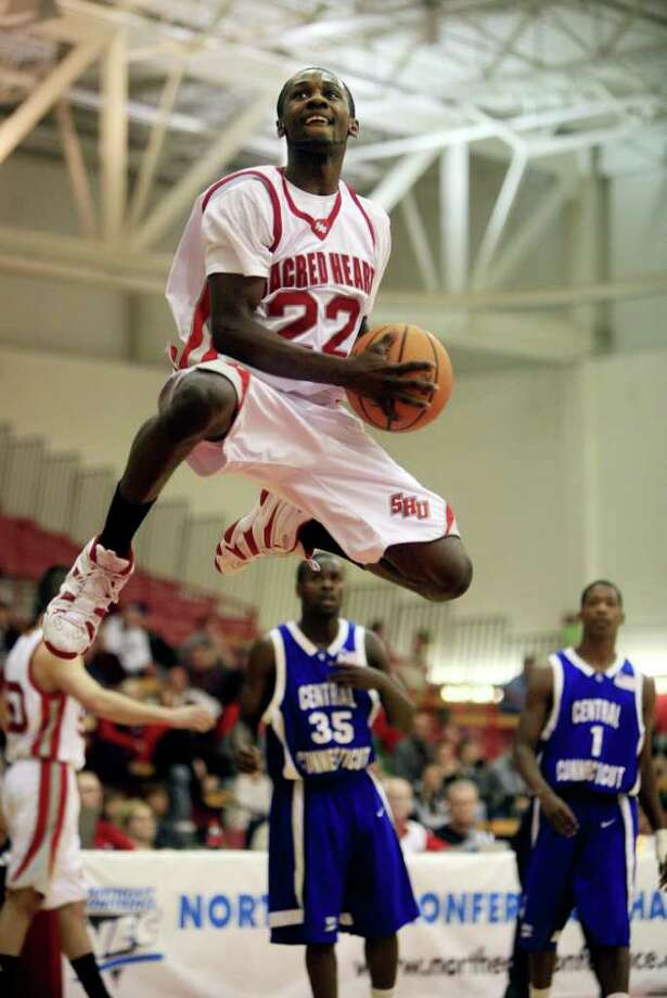 Sacred Heart University's Chauncey Hardy, during Northeast Conference Tournament Quarterfinals against Central Connecticut State in Fairfield, Conn March 6th, 2008. Hardy died Saturday, Oct. 8th, 2011 after repeated blows to the head after an incident at a Romanian bar. Hardy played for CSS Giurgiu in southern Romania and was celebrating a victory over rival Dinamo Bucharest in Giurgiu. Photo: File Photo, File Photo/Jesse Neider / Connecticut Post File Photo