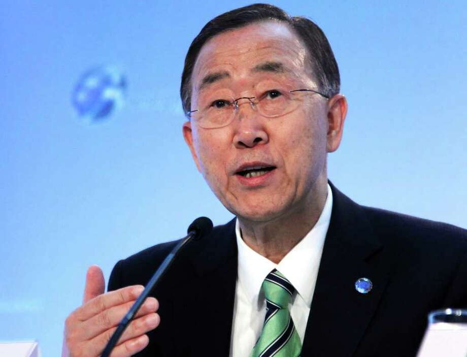 UN Secretary-General Ban Ki-moon speaks on October 10, 2011 during the opening of the Energy for All conference in Oslo.   AFP PHOTO / ERIK JOHANSEN        - NORWAY OUT - (Photo credit should read ERIK JOHANSEN/AFP/Getty Images) Photo: ERIK JOHANSEN / AFP