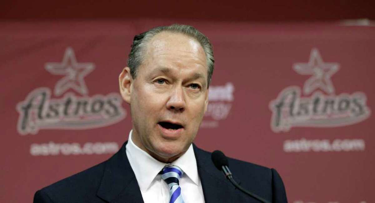 Jim Crane speaks during a news conference to announce a group led by Crane is purchasing the Houston Astros from owner Drayton McLane, pending approval from Major League Baseball, Monday, May 16, 2011, in Houston. (AP Photo/David J. Phillip)