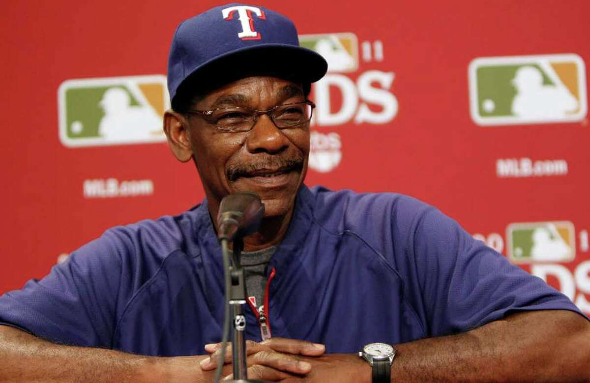 Texas Ranger manager Ron Washington smiles during a baseball news conference for the AL division series, Thursday, Sept. 29, 2011, in Arlington, Texas. The Tampa Bay Rays and Rangers are a scheduled play in Game 1 on Friday. (AP Photo/LM Otero)