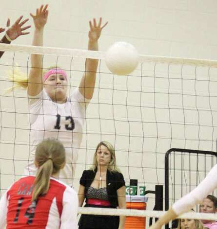 Steele's Rebekah Rightnour (13) had 14 kills and 20 digs against Judson, and 24 kills and 21 digs against Seguin, helping the Knights win twice last week and remain a game behind New Braunfels for first in 25-5A. Photo: L.D. Franklin/Special To The Express-News
