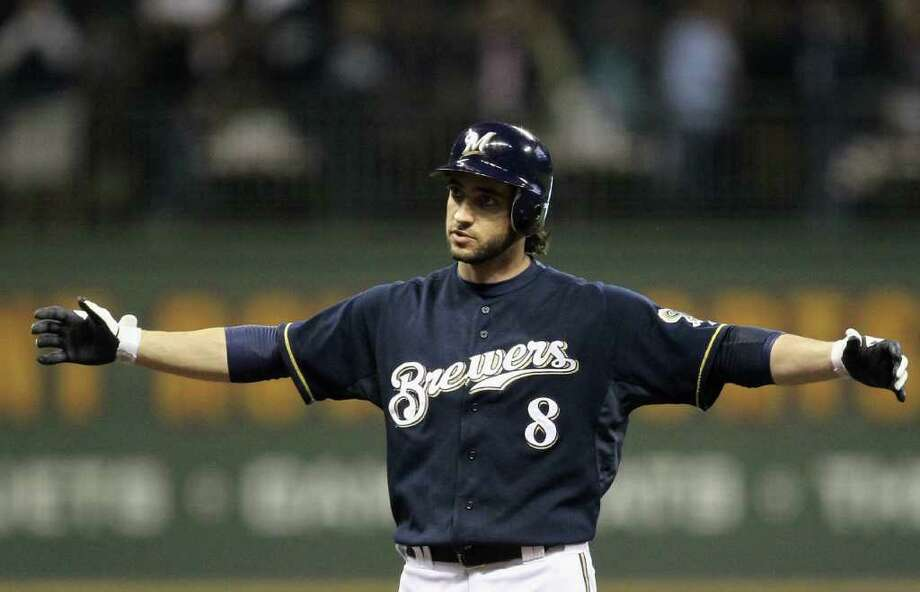 MILWAUKEE, WI - OCTOBER 10:  Ryan Braun #8 of the Milwaukee Brewers reacts after he hit a grond rule double against the St. Louis Cardinals during Game Two of the National League Championship Series at Miller Park on October 10, 2011 in Milwaukee, Wisconsin. Photo: Jonathan Daniel, Getty / 2011 Getty Images