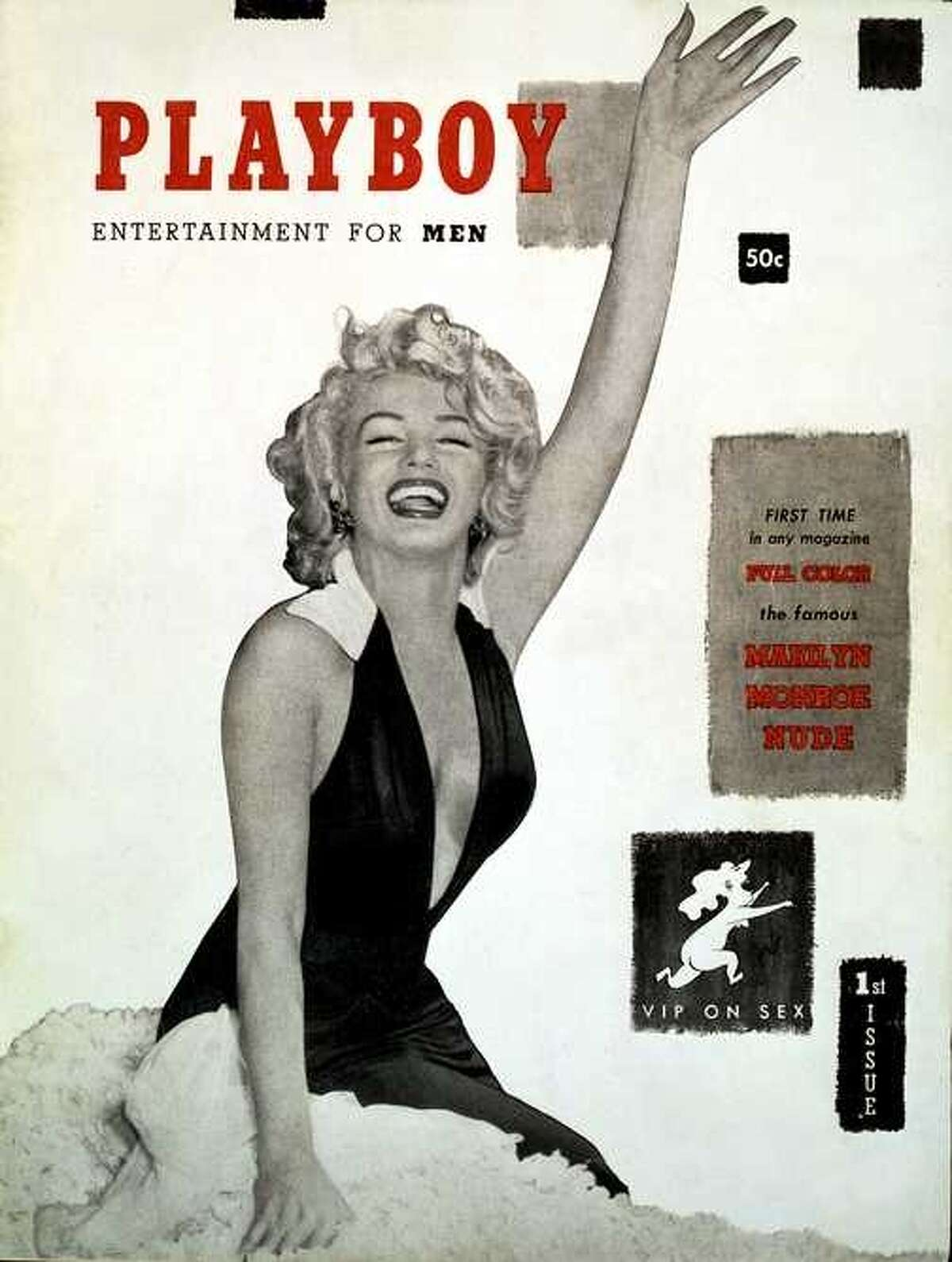 Actress Marilyn Monroe was the first Playmate of the Month in Playboy's first issue in December 1953.