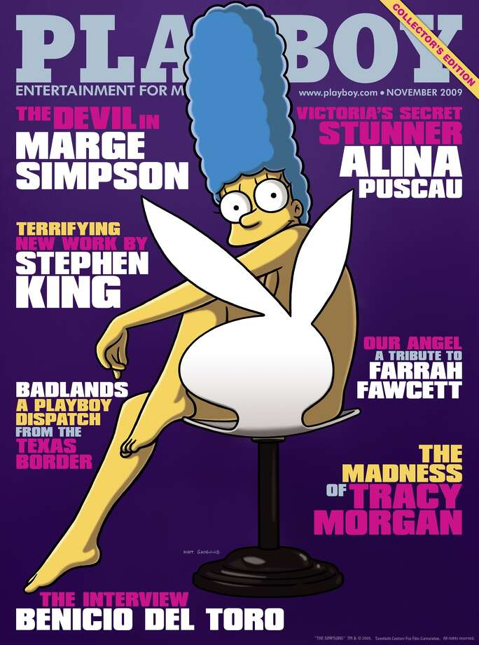 Fictional cartoon character Marge Simpson made a tongue-in-cheek appearance in the November 2009 issue, becoming the first cartoon character to appear on the cover of the magazine.