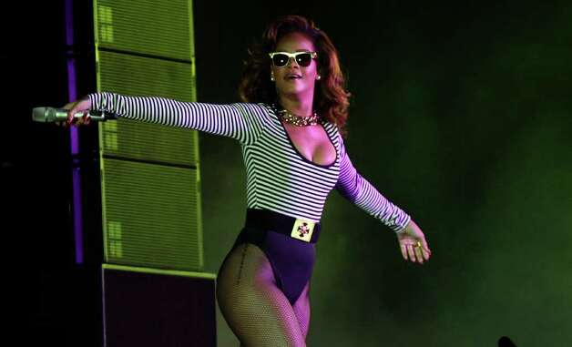 "Rihanna performs during her ""Loud Tour"" at the Anhembi Convention Center in Sao Paulo, Brazil, Saturday Sept. 17, 2011. Photo: AP"
