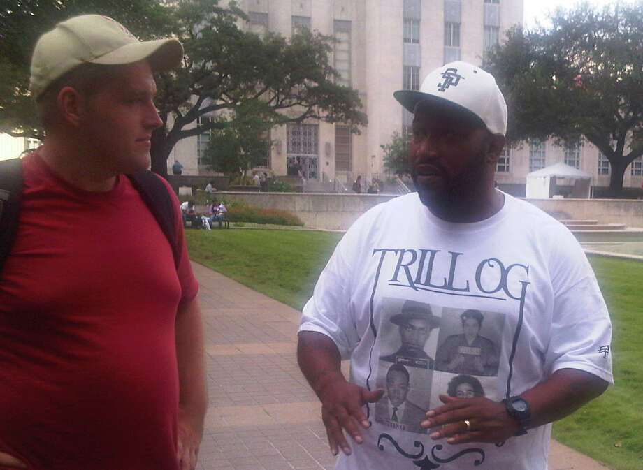 Bun B with Occupy Houston protester Scott Gregory at City Hall Tuesday, Oct. 11. 2011.
