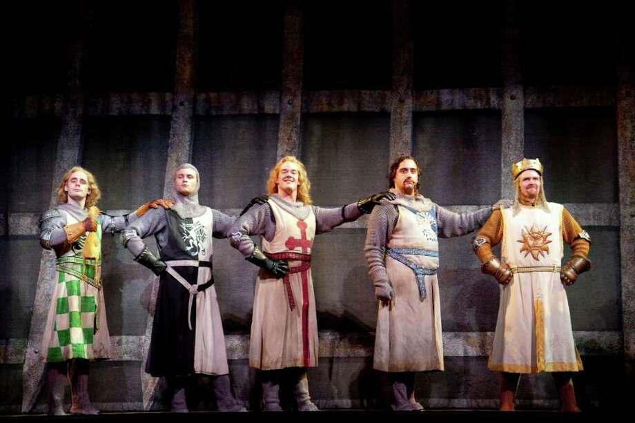 "Martin Glyer, Adam Grabau, Jacob L. Smith, Matt Ban and Steve McCoy star in ""Spamalot,"" coming to Toyota presents The Oakdale Theatre in Wallingford on Saturday , Oct. 22. Photo: Contributed Photo"