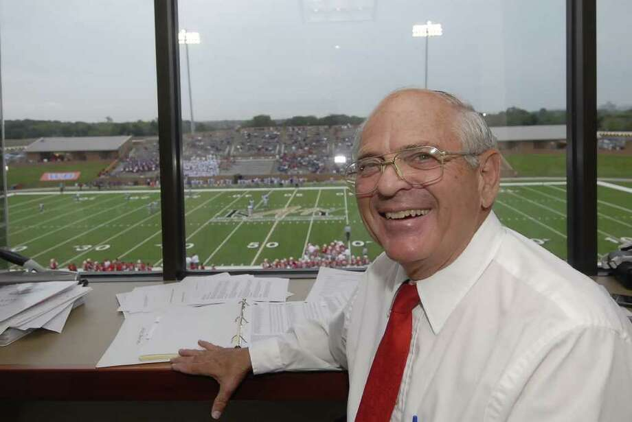 TONY BULLARD: FOR THE CHRONICLE THE VOICE YOU HEAR: Bill Haskett is the announcer in the press box for Katy High School home football games at Rhodes Stadium in Katy. Photo: Tony Bullard / Credit: for the Chronicle