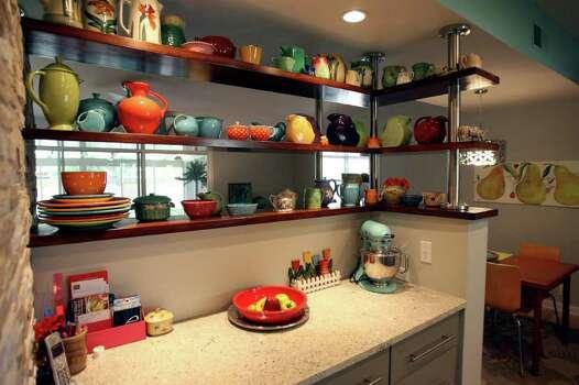 Judith Hyndman's colourful kitchen with fiestaware via My San Antonio website