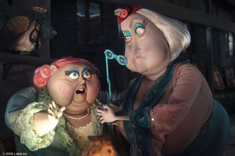 "Dawn French as the voice of Miss Forcible and Jennifer Saunders as the voice of Miss Spink in ""Coraline."" Photo: Photo Credit:  Courtesy Of Focus Features / © 2008 Focus Features. All rights reserved."