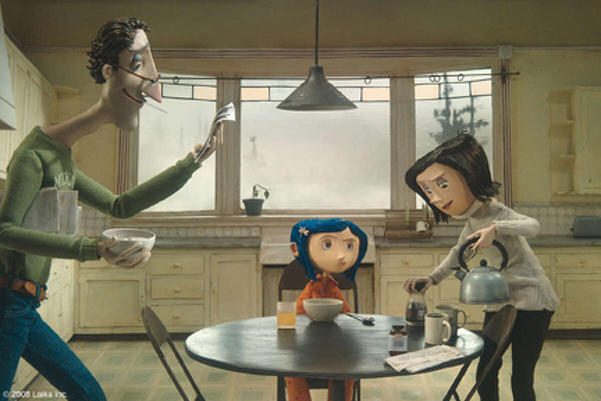 John Hodgman as the voice of Father, Dakota Fanning as the voice of Coraline and Teri Hatcher as the voice of Mother in
