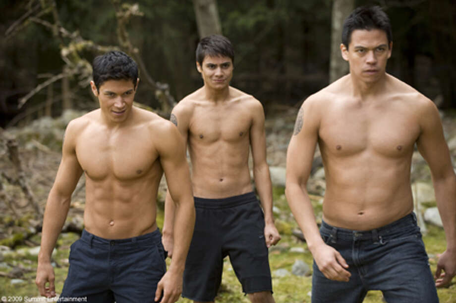"(L-R) Alex Meraz as Paul, Kiowa Gordon as Embry and Chaske Spencer as Sam in ""The Twilight Saga: New Moon."""