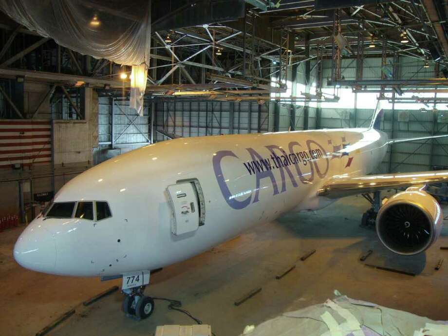 One of Norwalk-based Southern Air's two Boeing 777 freighter, which are leased out to airlines. Photo: Contributed Photo, ST / Connecticut Post Contributed