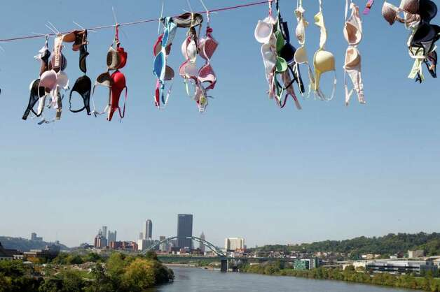 10. Pittsburgh. Somebody's been busy. (Actually, bra company Aerie draped a bridge with thousands of bras to heighten breast cancer awareness awareness.) Photo: Keith Srakocic