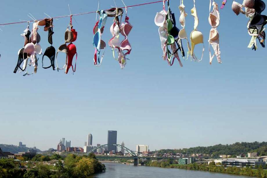 10. Pittsburgh.Somebody's been busy. (Actually, bra company Aerie draped a bridge with thousands of bras to heighten breast cancer awareness awareness.) Photo: Keith Srakocic