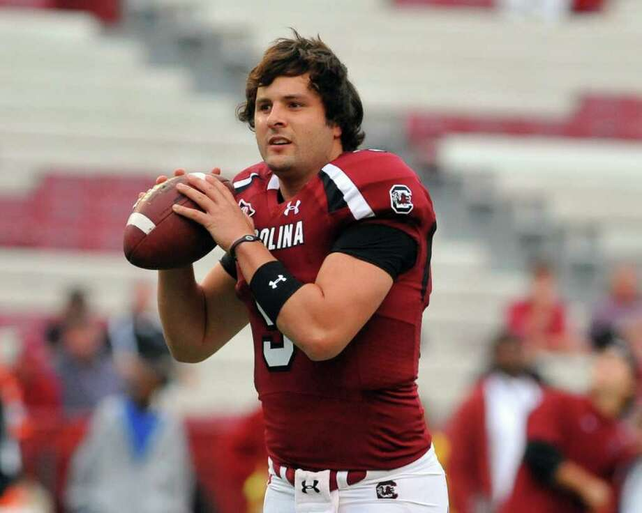COLUMBIA, SC - SEPTEMBER 17:  Quarterback Stephen Garcia #5 of the South Carolina Gamecocks warms up for play against the Navy Midshipmen September 17, 2011 at Williams-Brice Stadium in Columbia, South Carolina.  (Photo by Al Messerschmidt/Getty Images) Photo: Al Messerschmidt / 2011 Getty Images