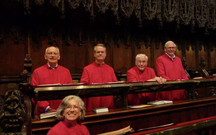 George Friesen, Jeremy Reifsnyder, Jack Donahue, Raud Johnson and Cassia Ward, members of St. Markís Choir, prepare for the nightly service of Evensong at Chester Cathedral in Chester, England. Photo: Contributed Photo