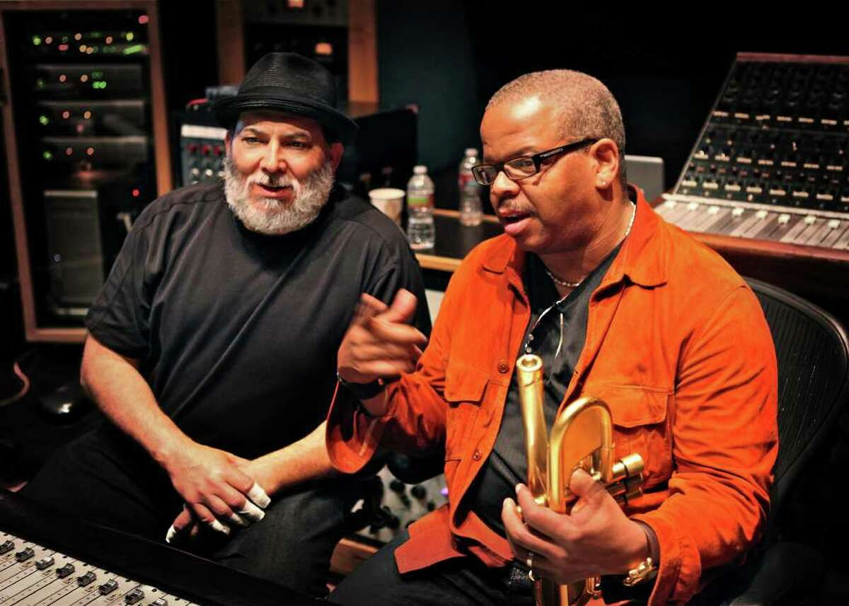 music mixer Percussionist Poncho Sanchez, left, will join trumpeter Terence Blanchard to perform classic Afro-Cuban songs Saturday night for Da Camera's jazz series. Sanchez, who has performed with Dizzy Gillespie, says collaborations such as this help expose Latin jazz to new audiences.