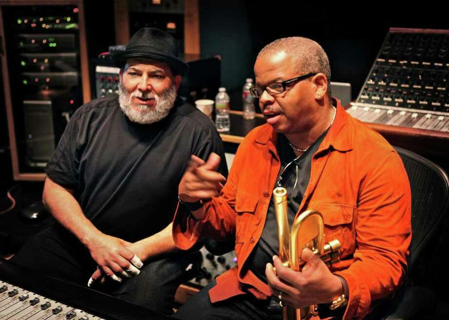 music mixer Percussionist Poncho Sanchez, left, will join trumpeter Terence Blanchard to perform classic Afro-Cuban songs Saturday night for Da Camera's jazz series. Sanchez, who has performed with Dizzy Gillespie, says collaborations such as this help expose Latin jazz to new audiences. Photo: Ashley Stagg