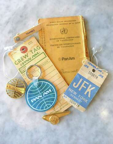 A Pan Am collage of saved crew tags, a vaccination ID, key rings and badges worn and saved by long-time Pan Am stewardess Ann Blumenstaadt. Photo: Robert Jenna / For The Greenwich