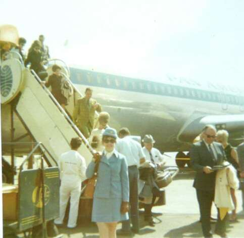 Pan Am stewardess Ann Blumenstaadt stands by a Pan Am Boeing 707 upon landing in Rio after her first flight there in the fall of 1969. Photo: Contributed Photo