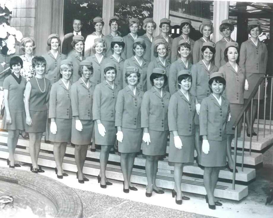 """Greenwich resident Ann Blumenstaadt, second from right in the front row, poses proudly with her graduating class of Pan Am stewardesses in February of 1969. Nancy Hult Ganis, an executive producer of the new """"Pan Am"""" series on ABC, is fourth from the left, back row. Blumenstaadt, a Pan Am stewardess for more than 20 years, is a fan of the show. """"It's a great plus to getting the Pan Am story out,"""" she says. Photo: Contributed Photo"""