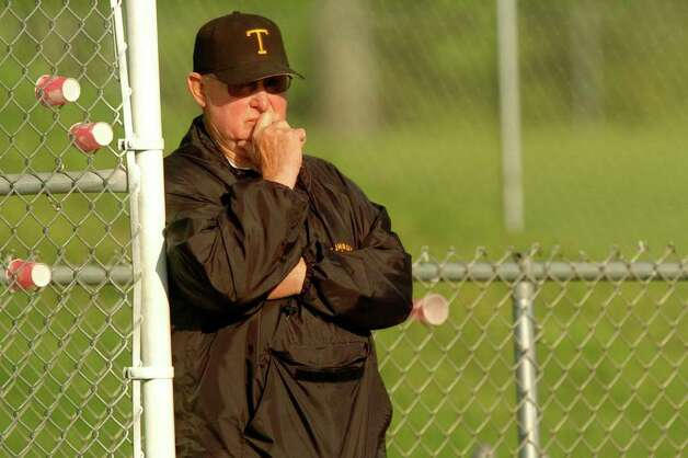 Jerry McDougall watches his Trumbull High School baseball team in action against Norwalk High School in Trumbull, Conn. June 2nd, 2005. McDougall, a pillar of Connecticut and national high school athletics for more than 50 years, died Wednesday morning. He was 76.  Trumbull coach Jerry McDougall watches his game against Norwalk at Trumbull High School June 2. Photo: File Photo, File Photo/Andrea Dixon / Connecticut Post File Photo