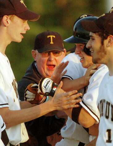Jerry McDougall celebrates with his Trumbull High School baseball team in action against Norwalk High School in Trumbull, Conn. June 2nd, 2005. McDougall, a pillar of Connecticut and national high school athletics for more than 50 years, died Wednesday morning. He was 76. Photo: File Photo, File Photo/Andrea Dixon / Connecticut Post File Photo