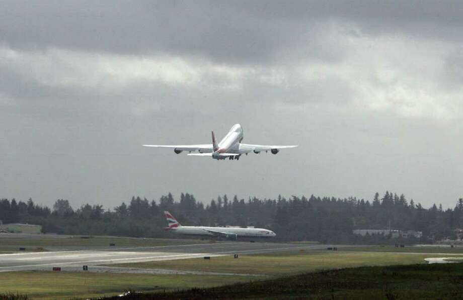 Cargolux's first 747-8 Freighter takes off from Paine Field on Oct. 12, 2011 in Everett, Wash. Photo: Aubrey Cohen