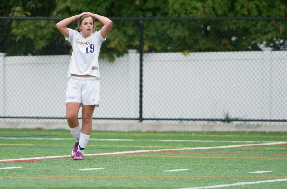 Westhill's Jess Laszlo shows her frustration as the previously undefeated Vikings battle St. Joseph in a girls soccer game in Stamford, Conn., October 12, 2011. St. Joseph won the game 1-0. Photo: Keelin Daly / Stamford Advocate