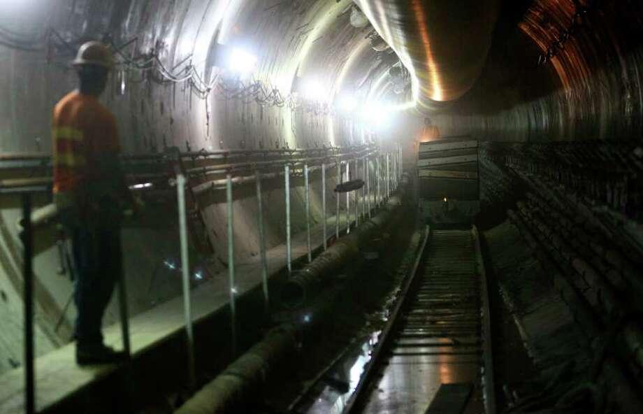 Light rail tunneling machine about to break through ...